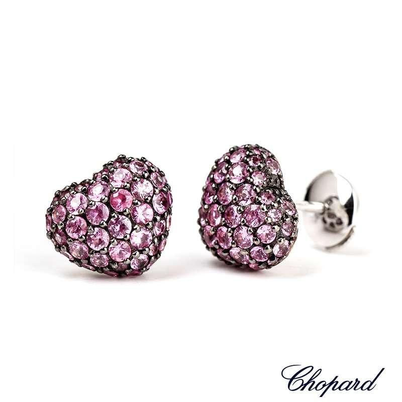 Chopard 18k White Gold Sapphire Heart Earrings 83/4203-1010